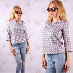Блуза  с цветочным принтом с коротким рукавом У0087