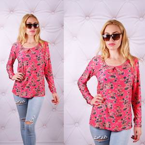 Блуза  с длинным рукавом с цветочным принтом У0084