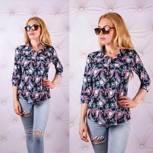 Блуза  с цветочным принтом с коротким рукавом У0093