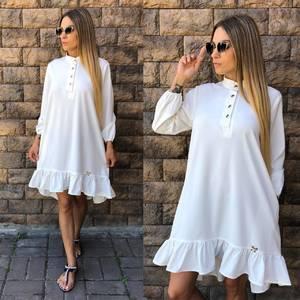 Платье короткое с длинным рукавом однотонное У0838
