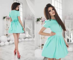 Платье короткое коктейльное однотонное Х2571