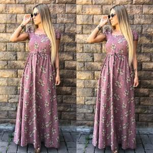 Платье длинное с принтом розовое У7385