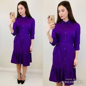Платье короткое с рукавом 3/4 однотонное Х6806
