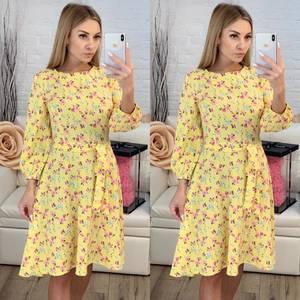 Платье короткое с рукавом 3/4 с принтом Х7816