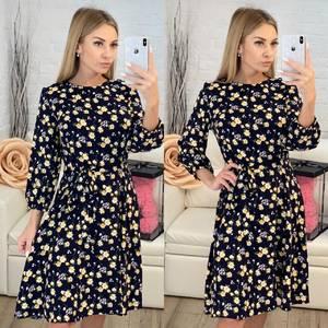 Платье короткое с рукавом 3/4 с принтом Х7818
