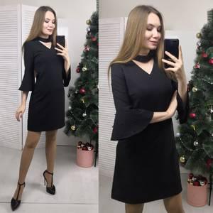 Платье короткое нарядное черное Ф7187