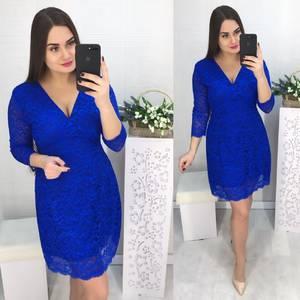 Платье короткое нарядное синее Х2844
