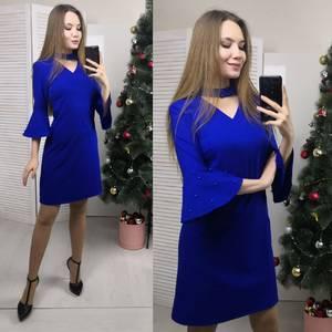Платье короткое с рукавом 3/4 синее Ф7188