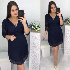 Платье короткое нарядное синее Х2846