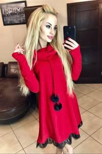 Платье короткое с длинным рукавом красное Х4859