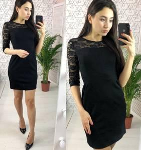 Платье короткое нарядное черное Х2848