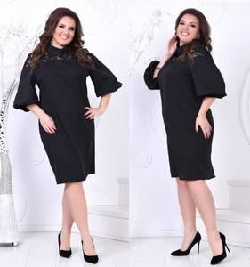 Платье короткое нарядное черное Х2039