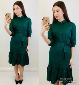 Платье короткое с рукавом 3/4 однотонное Х6807