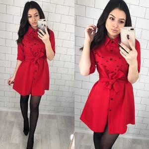 Платье короткое однотонное красное Х5650