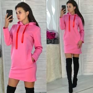 Платье короткое с длинным рукавом теплое Ф3676