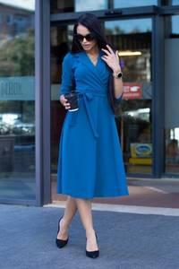 Платье короткое с рукавом 3/4 синее Ф7178