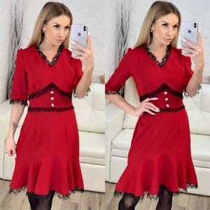 Платье короткое нарядное красное Х1626