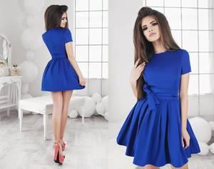 Платье короткое коктейльное однотонное Х2573