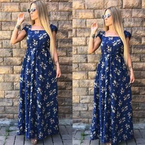 Платье длинное с принтом синее У7386