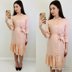 Платье короткое с рукавом 3/4 однотонное Х6808
