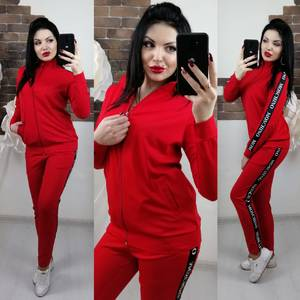 bd8404d6f56 Купить оптом трикотажный спортивный костюм женский большого размера ...