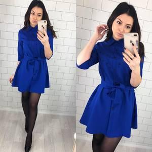 Платье короткое нарядное синее Х5651