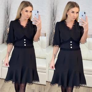 Платье короткое нарядное черное Х1627
