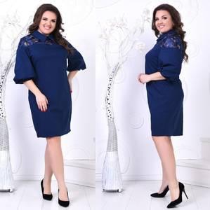 Платье короткое нарядное синее Х2038