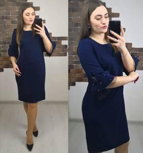 Платье короткое нарядное синее Х4068