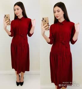 Платье короткое с рукавом 3/4 однотонное Х6809