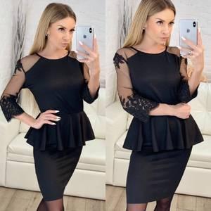 Платье короткое коктейльное черное Х1630