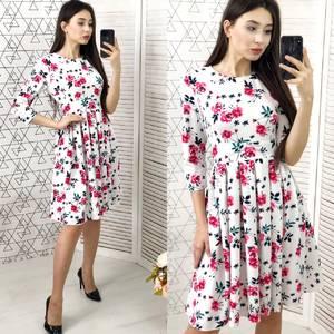 Платье короткое с рукавом 3/4 с принтом Х6186