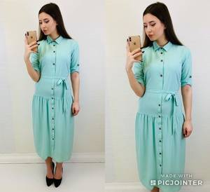 Платье короткое с рукавом 3/4 однотонное Х6811