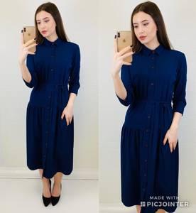 Платье короткое с рукавом 3/4 однотонное Х6812