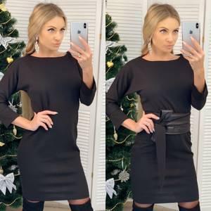 Платье короткое с рукавом 3/4 черное Ф7186