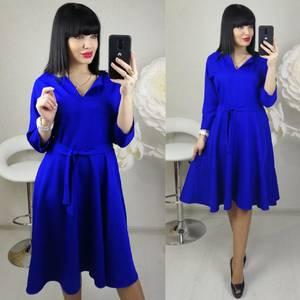 Платье короткое с рукавом 3/4 синее Х8685