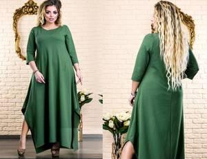 Платье длинное зеленое нарядное Х5872