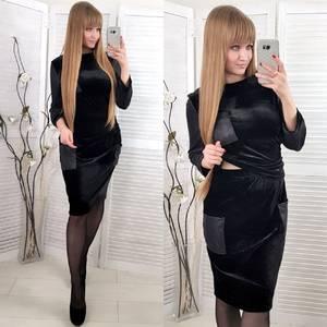 Костюм модный c юбкой черный Ф7172