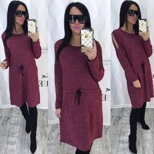 Платье короткое с длинным рукавом красное Ф4355