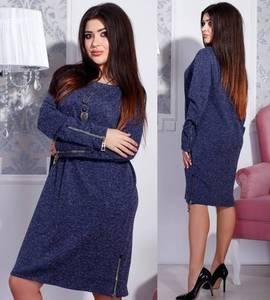 Платье короткое с длинным рукавом синее Ф4356
