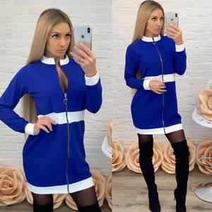 Платье короткое с длинным рукавом синее Ф5234
