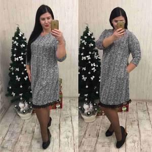 Платье короткое нарядное с кружевом Ф1465