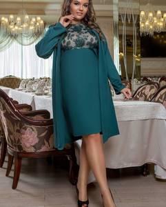 Платье Двойка короткое нарядное зеленое У8083