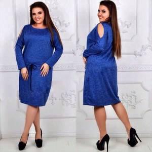 Платье короткое с длинным рукавом синее Ф4352