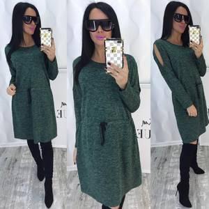Платье короткое с длинным рукавом зеленое Ф4354