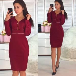 Платье короткое с длинным рукавом красное Ф5832