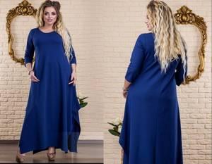 Платье длинное синее однотонное Х5870
