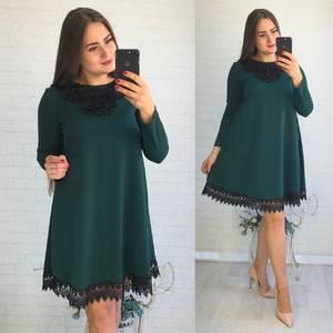 Платье короткое нарядное зеленое Ф3543