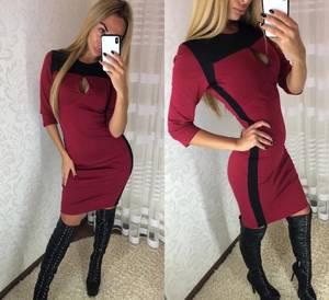 Платье короткое с рукавом 3/4 облегающее Ф3671