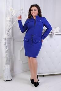 Платье короткое нарядное синее Ф4654